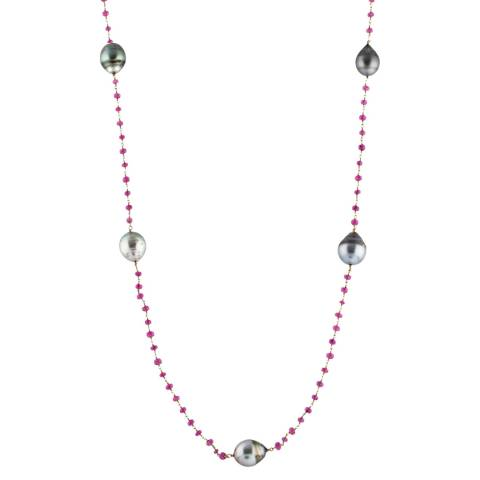 Black Label by Liv Oliver Ruby and Pearl Necklace