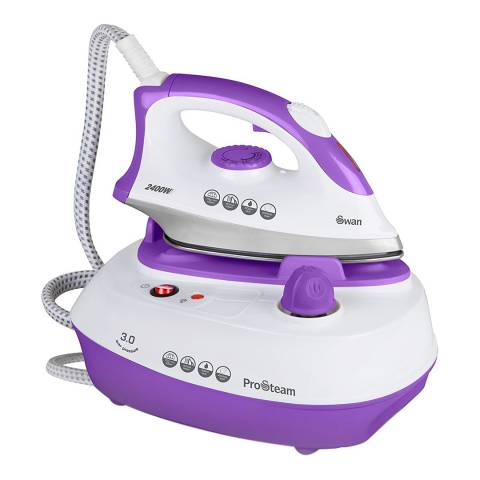 Swan Purple/White Pressurised Steam Station Iron
