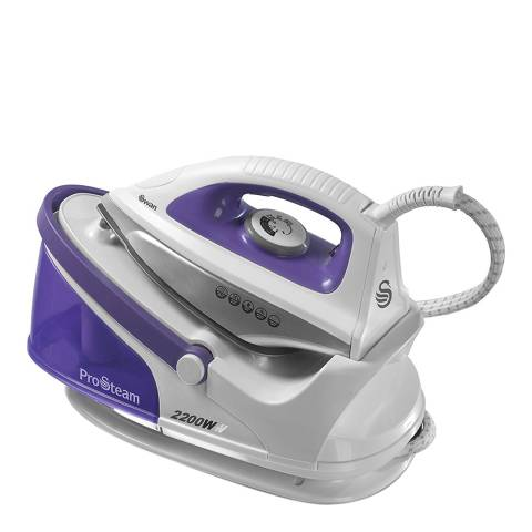 Swan Purple/White Ceramic Plate Steam Generator Iron, 2200W