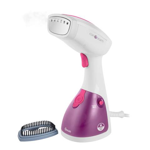 Swan White/Pink Handheld Garment Steamer