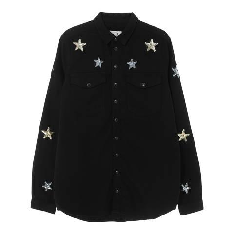 Zoe Karssen Black Sequin Stars Cotton Shirt