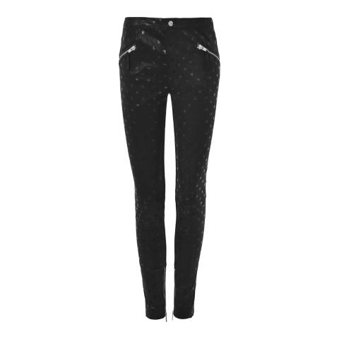 Zoe Karssen Black Stars All Over Leather Trousers