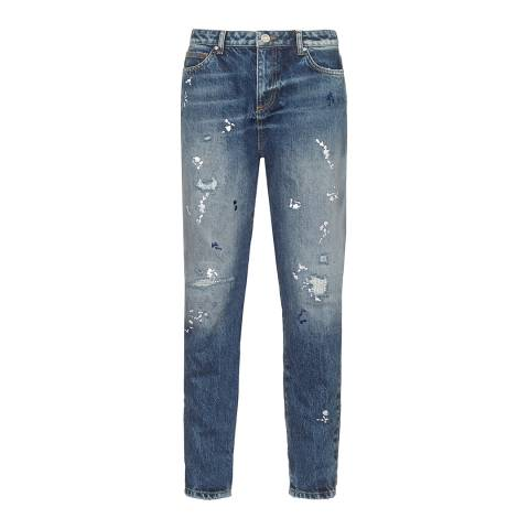 Zoe Karssen Denim Blue Paint All Over Boyfriend Jeans