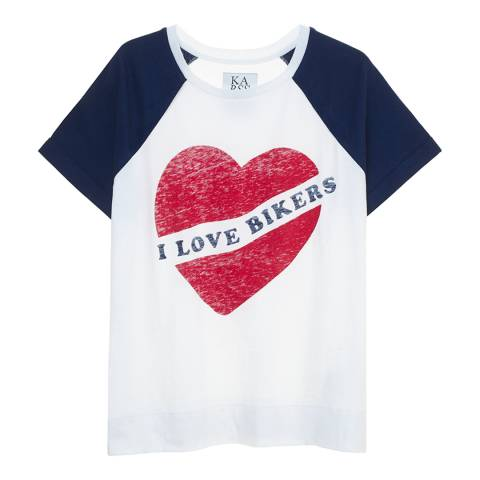 Zoe Karssen Navy/White I Love Bikers T-Shirt