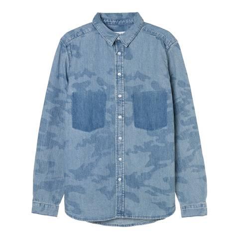 Zoe Karssen Blue Camo All Over Denim Shirt