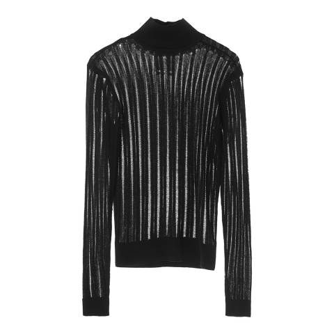 Zoe Karssen Black Laddered Knit Top