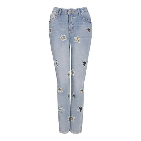 Zoe Karssen Light Blue Sequin Star Denim Boyfriend Fit Jeans