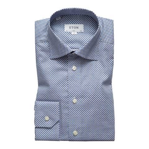 Eton Shirts Blue/White Circular Pattern Slim Shirt