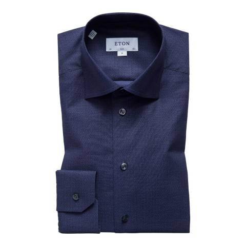 Eton Shirts Navy Flower Slim Shirt