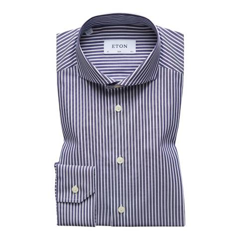 Eton Shirts Navy/White Stripe Slim Shirt
