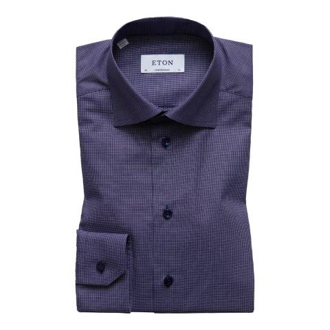 Eton Shirts Navy Contemporary Micro Check Shirt