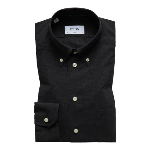 Eton Shirts Black Slim Spot Shirt