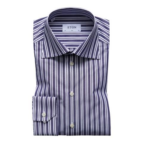 Eton Shirts Blue/White Slim Striped Shirt