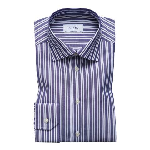 Eton Shirts Blue/White Contemporary Striped Shirt