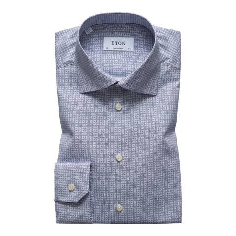 Eton Shirts Blue/White Contemporary Geometric Shirt