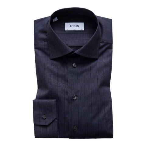 Eton Shirts Navy/Black Slim Striped Shirt