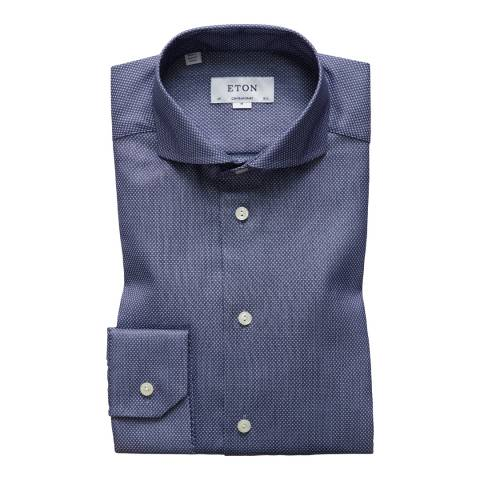 Eton Shirts Blue/White Contemporary Crossed Shirt