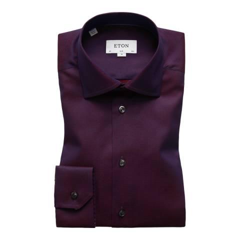 Eton Shirts Purple/Red Slim Stitched Shirt