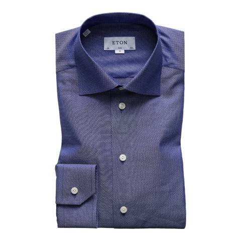 Eton Shirts Blue/Navy Slim Micro Geometric Shirt