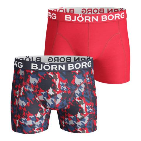 BJORN BORG Men's Red Houndtooth 2-Pack Boxer Shorts