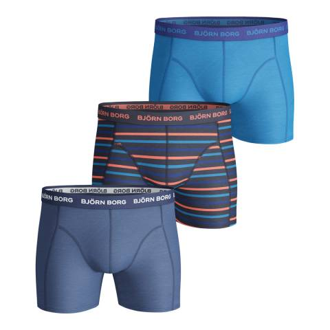 BJORN BORG Men's Blue Stripe 3-Pack Boxer Shorts