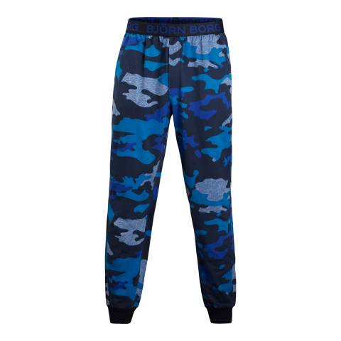 BJORN BORG Men's Blue Camo Cuffed Pant
