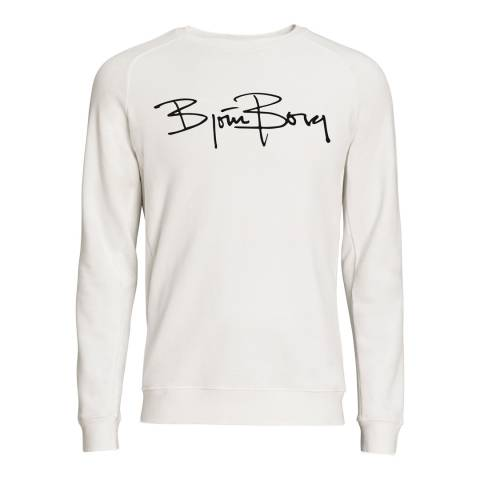 BJORN BORG Men's White Signature Long Sleeve Sweater