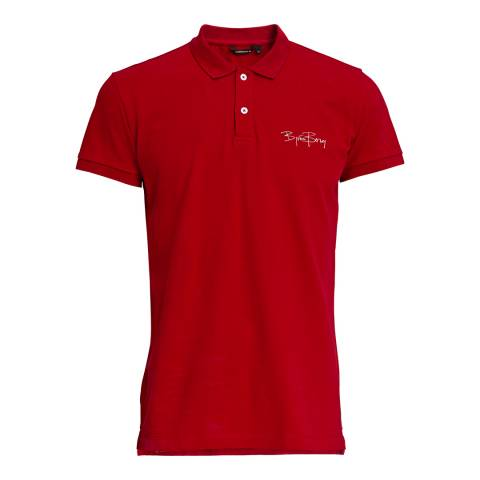 BJORN BORG Men's Red Signature Polo