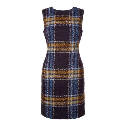 Hobbs London Navy/Chartreuse Briony Dress
