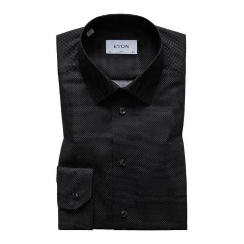Eton Shirts Black/White Slim Spot Shirt