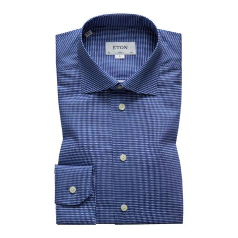 Eton Shirts Blue/White Slim Diamond Shirt