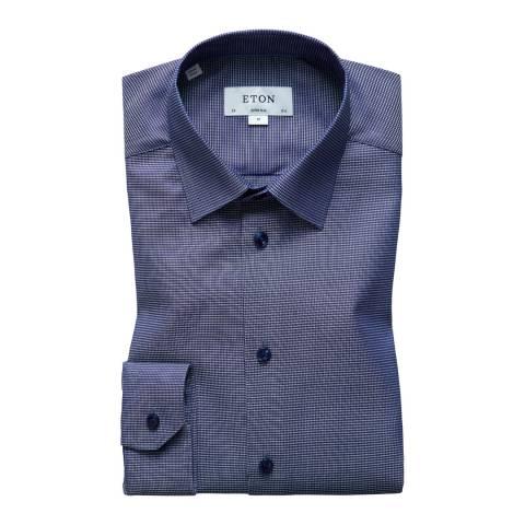 Eton Shirts Navy/Blue Super Slim Diamond Shirt