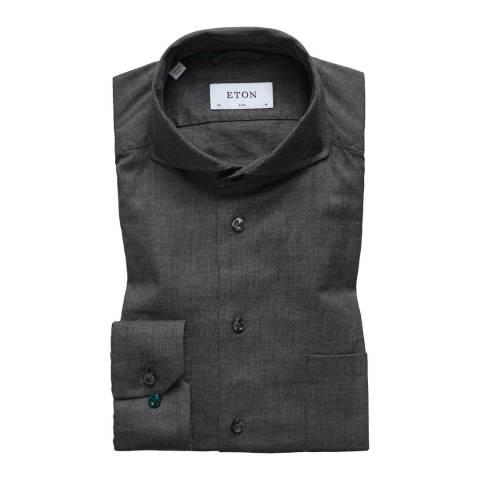 Eton Shirts Dark Grey Slim Woven Shirt