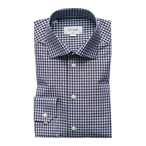 Eton Shirts Black/White Slim Check Shirt
