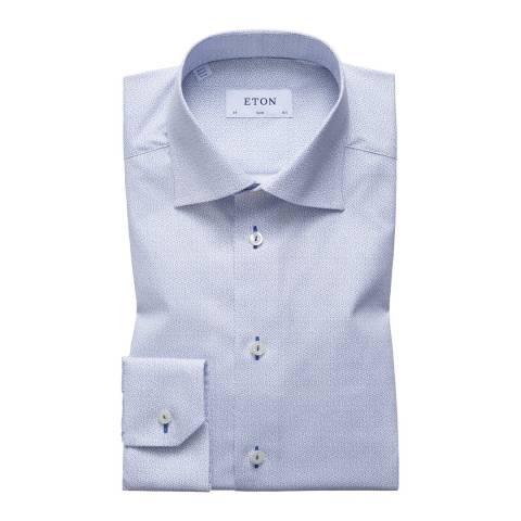 Eton Shirts White/Blue Slim Stitched Geometric Shirt