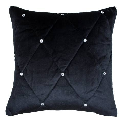 Paoletti Black Diamante Cushion 55x55cm