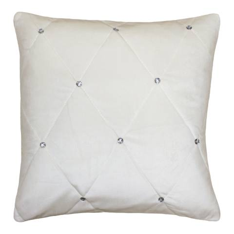 Paoletti Cream Diamante Cushion 55x55cm