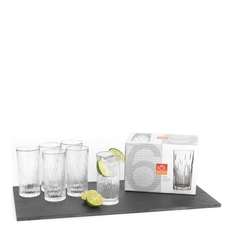 RCR Crystal Set of 6 Fire Crystal Hi-Ball Cocktail Water Tumblers Glasses, 370ml