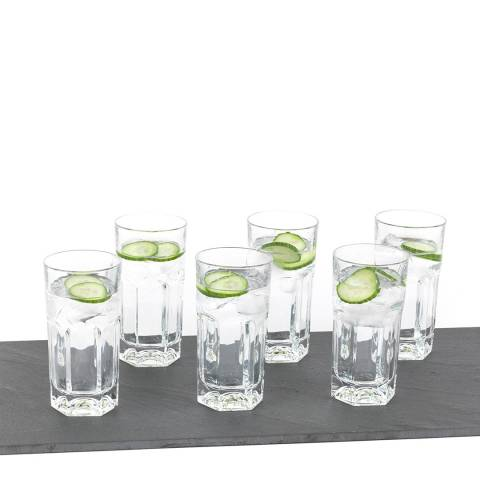 RCR Crystal Set of 6 Provenza Crystal Hi-Ball Cocktail Water Tumblers Glasses, 370ml