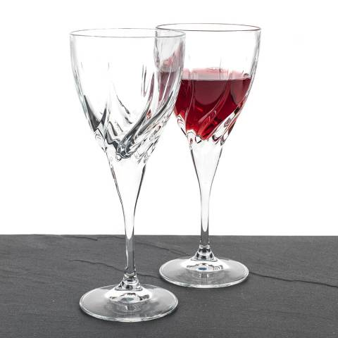 RCR Crystal Set of 2 Twist Crystal White Wine Glasses, 240ml