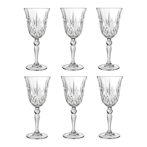 RCR Crystal Set of 6 Melodia Crystal Wine Glasses, 210ml