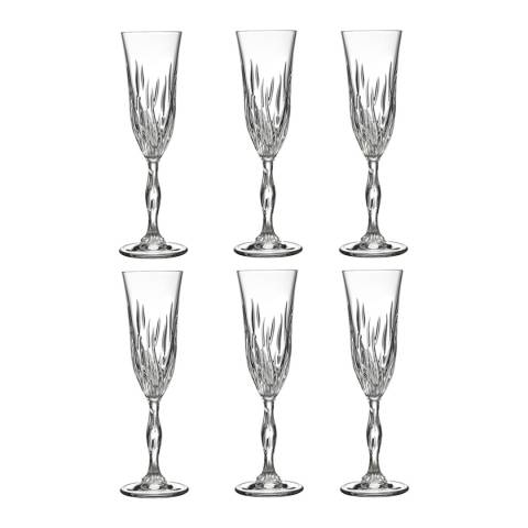RCR Crystal Set of 6 Fire Crystal Champagne Flutes Glasses, 210ml