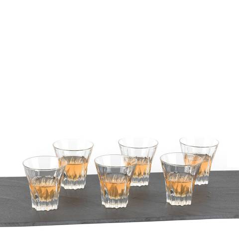 RCR Crystal Set of 6 Fluente Crystal Short Whisky Water Tumblers Glasses, 310ml