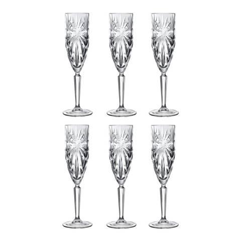 RCR Crystal Oasis Crystal Set of 6 Champagne Flutes Glasses, 160ml