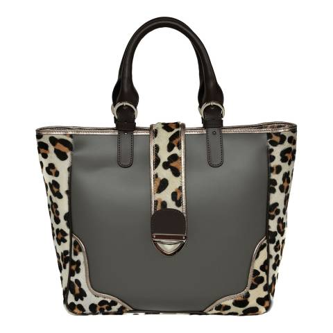 Carla Ferreri Grey Leather Shoulder Bag
