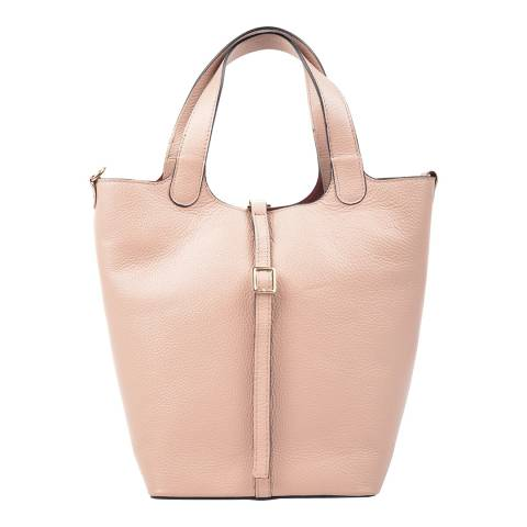 Carla Ferreri Blush Leather Shoulder Bag