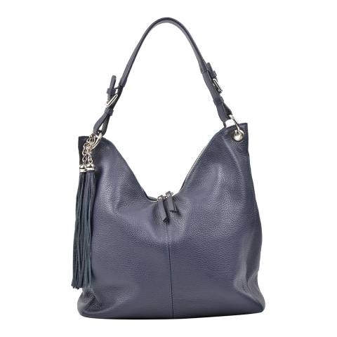 Carla Ferreri Blue Leather Hobo Bag