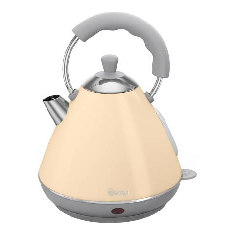 Swan Cream Retro Pyramid Kettle, 2L