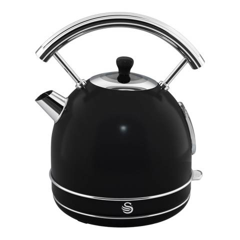 Swan Black Retro Dome Kettle, 1.7L