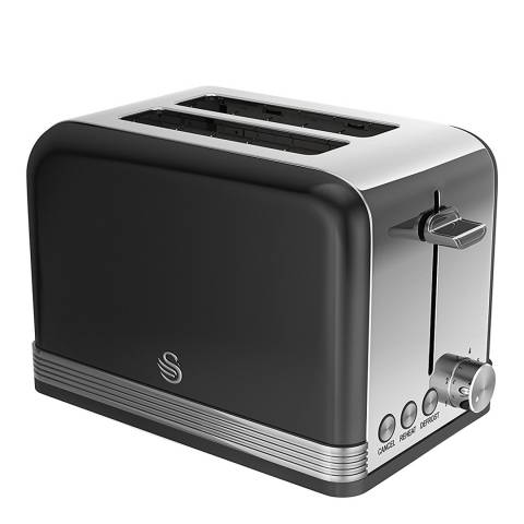 Swan Black Retro 2 Slice Toaster